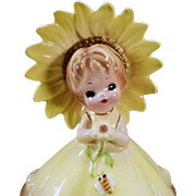 Vintage Josef Original – Little Sunflower Girl with Bumble Bee