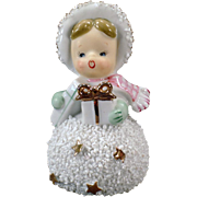 Vintage Porcelain Bell – Snowball Girl Christmas Bell – Semco - Japan 1950's
