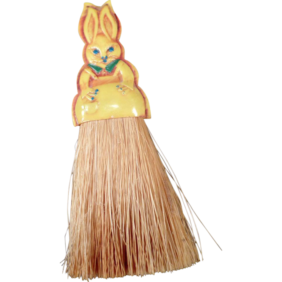 Childs Vintage Clothes Brush - Old Celluloid Bunny Brush - Very Cute