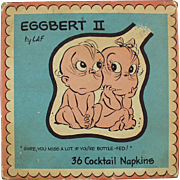 Vintage Cocktail Napkins - Eggbert the Talking Embryo - 1961