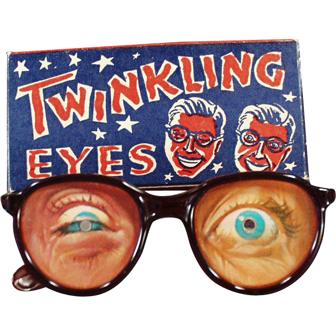 Vintage Flicker Toy Glasses - Old Twinkling Eyes Eyeglasses with Original Box