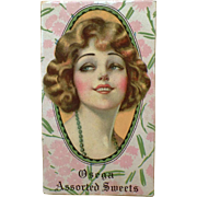 Vintage Candy Box - Old Osega Chocolates Box – 1920's Beautiful Girl