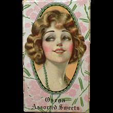 Vintage Candy Box - Old Osega Chocolates Box – 1920's Beautiful Girl