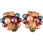 Vintage Costume Jewelry - Old Clip On Earrings - Beads and Bamboo