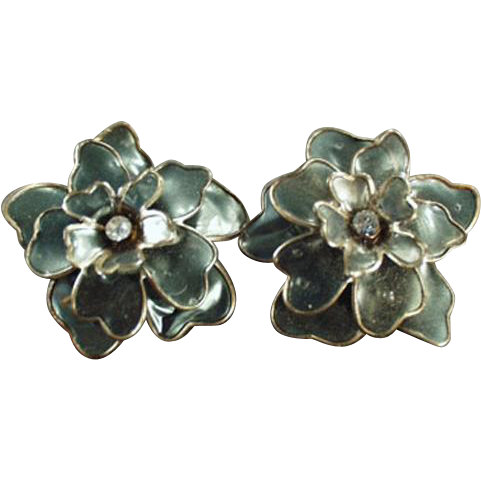 Vintage Costume Jewelry - Old Clip On Earrings - Large Flowers with Rhinestones