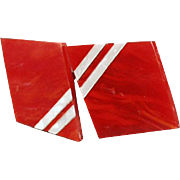 Vintage Deco Styled Buckle - Geometric 2pc. Buckle - Red & White Plastic