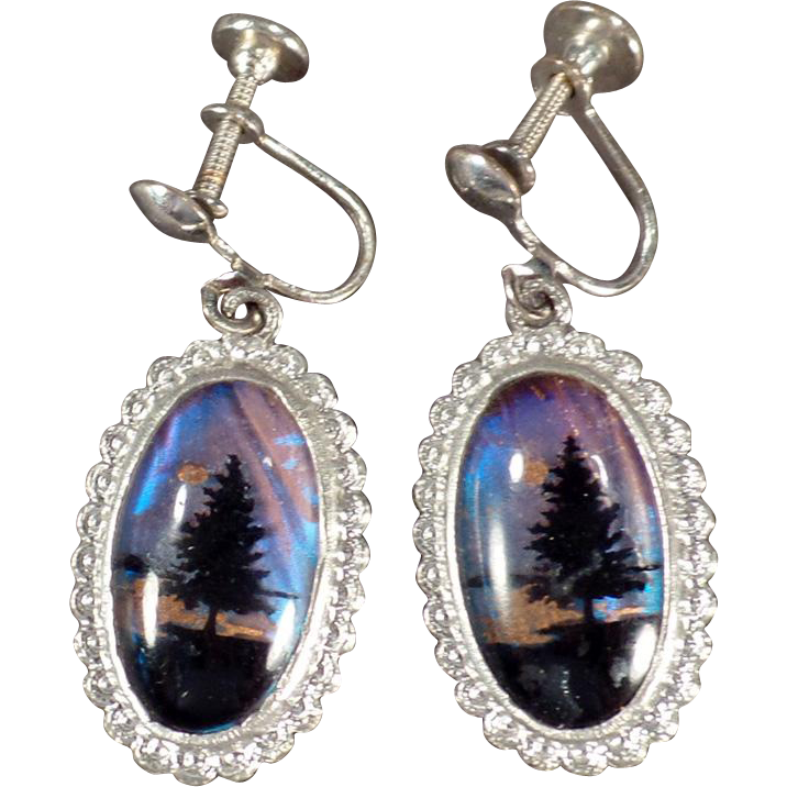 Vintage Screw Back Earrings - Old Dangle Earrings with Butterfly Wing Pine Trees