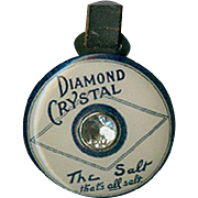 Vintage Watch Fob - Old Diamond Salt Advertising - Celluloid and Leather