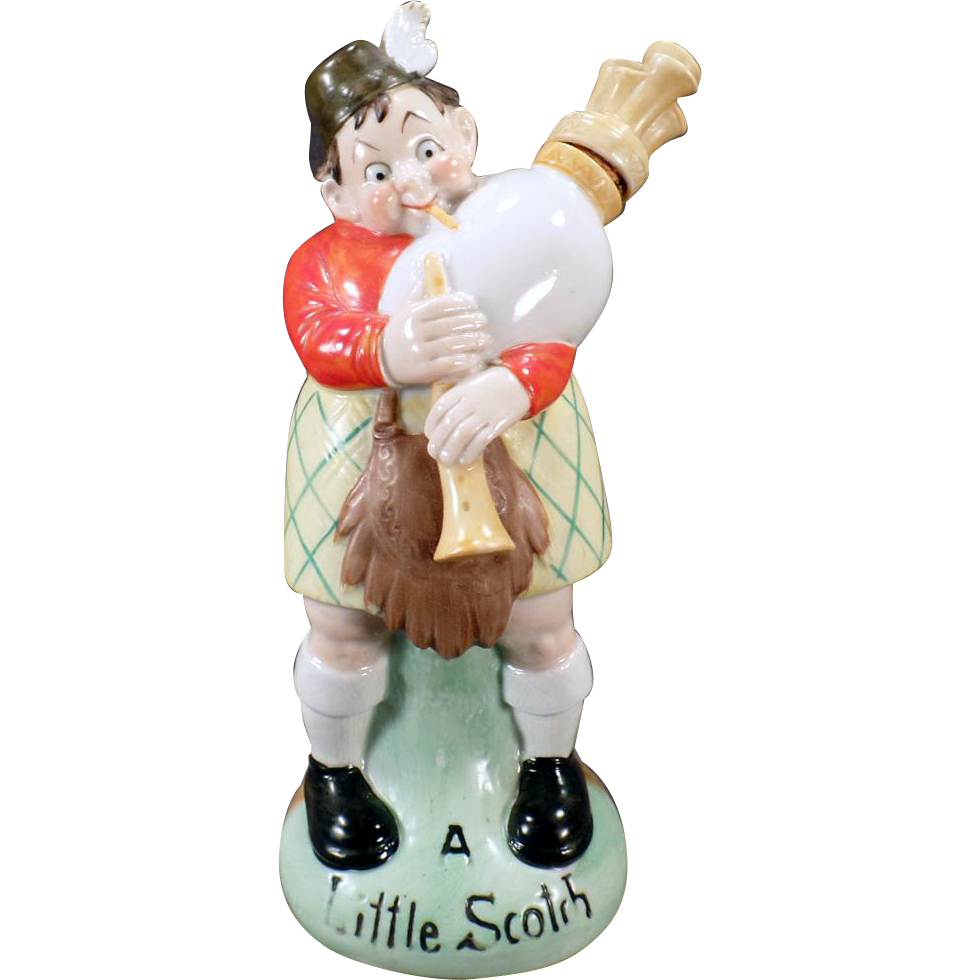 Vintage S & V Decanter - Large Schafer and Vater Decanter - A Little Scotch Bagpipe Player