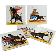 Set of Five Vintage Art Tiles - Beautiful Bullfighting Scenes - Made in England
