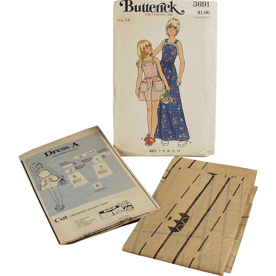 Vintage Sewing Pattern - Old Butterick #3691 Pattern - Little Girls Pinafore Style Dress - Vintage Size 14