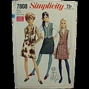"""Vintage Pattern - Old Simplicity #7808 - 1960's Mod Skirt & Vest - Miss 8 - Bust 31 1/2"""""""