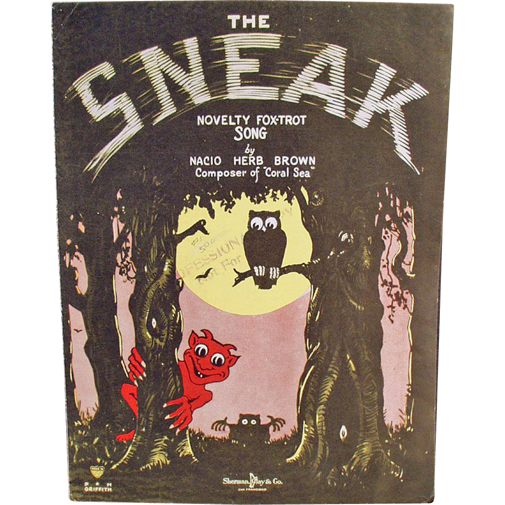 Vintage Sheet Music - The Sneak Novelty Fox Trot - Spooky Graphics