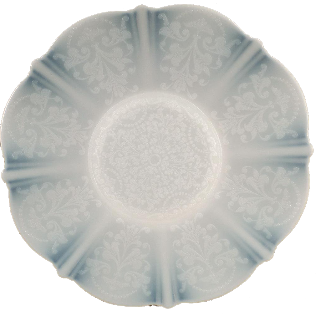Vintage American Sweetheart Plate   10 5/8u201d Plate   Monax White With Design    Mac Beth Evans Glass Co.
