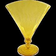 Vintage Steuben Vase - Old  #6287 Optic Ribbed Fan Vase with Etched Design - Signed