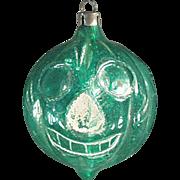 Vintage Christmas Ornament -  Old Blown Glass Jack-O-Lantern Pumpkin Halloween Ornament