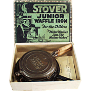 Child's Vintage Cast Iron Toy  - Old Stover Junior Waffle Iron with Original Box