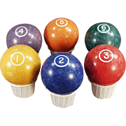 Vintage Pool Balls - Old Clay Type Billiard Balls - Single Circle - 1 through 6