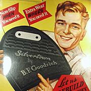 Vintage B.F. Goodrich Advertising Sign - Large Colorful Cardboard Sign - Silvertown Heels