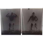 Vintage Glass Plate Negatives – Wrestler Tony Catalano – Two Poses plus Boise Newspaper Clipping