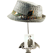 Boy's Vintage Hat - Woven Straw Fedora with Old Photo of Original Owner