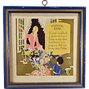 Vintage Motto Print - Mother Dear with Sweet Poem and Colorful Image