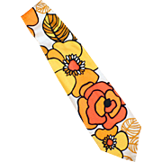 Men's Vintage Necktie - Wide Old Tie with Mod Flower Power