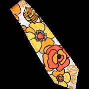 Men's Vintage Necktie - Wide Old Tie with Mod Flower Power