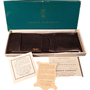 Vintage Leather Billfold – Old Prince Gardner Black Leather Wallet with Original Gift Box – 1960's