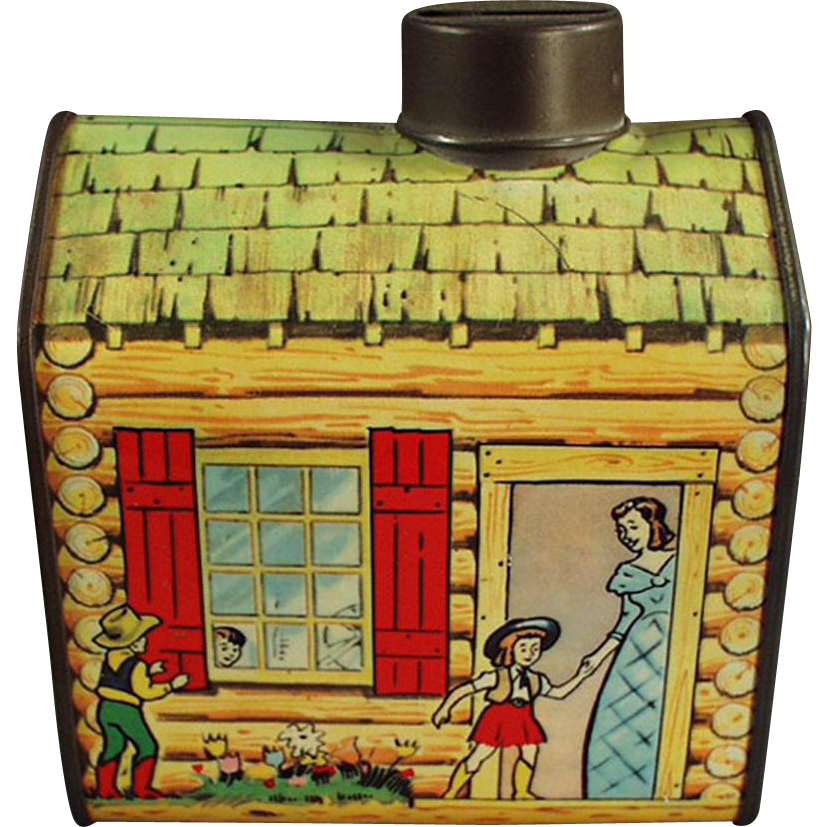Vintage Coin Bank - Old Log Cabin Syrup Tin Bank