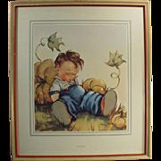 Vintage Print -Little Boy - Lazybones by Anne Allaben - Old Framed Print