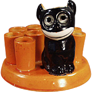 Vintage Black Cat Novelty - Felix Like Figure - Old German Porcelain Perfect for Halloween