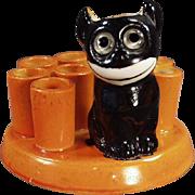 Vintage Black Cat Novelty - Felix Like Figure - Old German Porcelain Perfect for Halloween