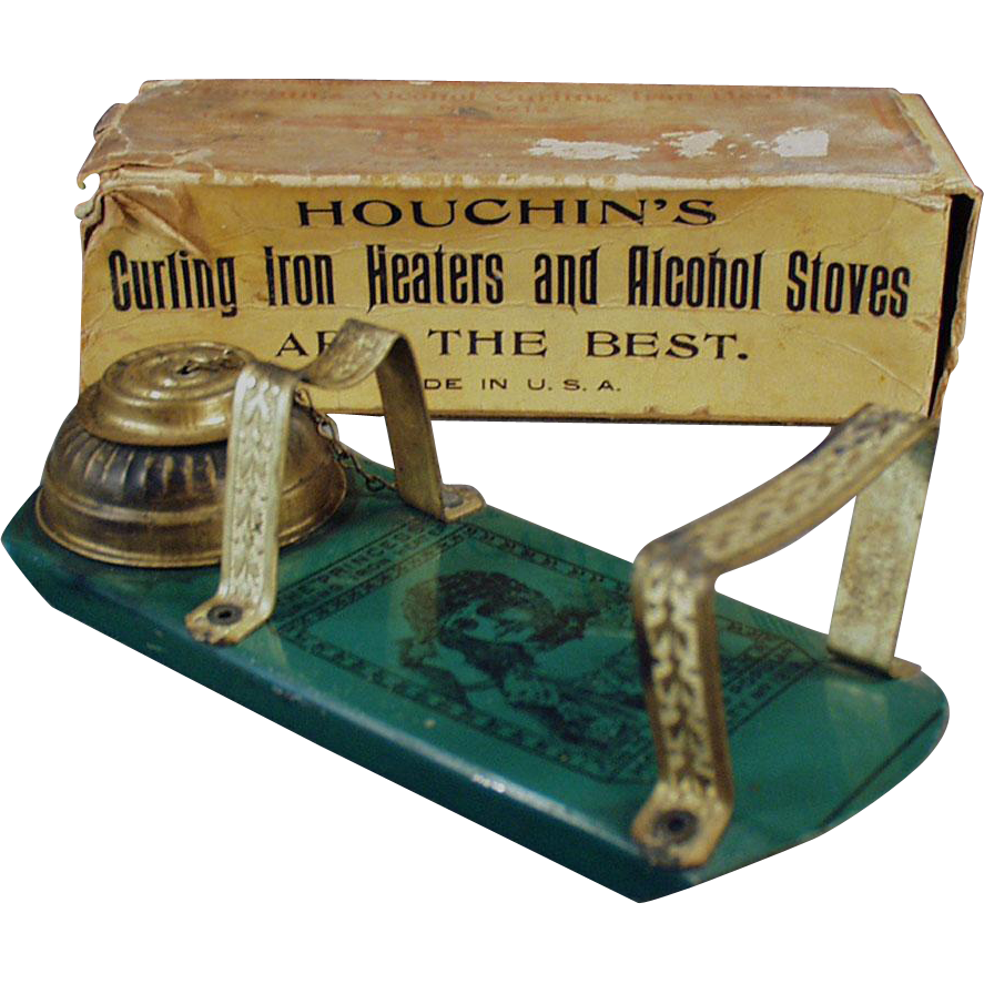 Vintage Curling Iron Heater - Houchin's Princess Alcohol Heater with Original Box - 1800's