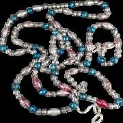 Vintage Glass Christmas Beads - Old Glass Bead Christmas Tree Garland - 7' Plus