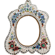 Old Micro Mosaic Frame -  Small Vintage Frame with Floral Design and Pretty Shape