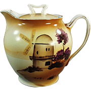 Vintage Teapot - Old Hand Painted Tea Pot with Windmill Scene - Made in Japan