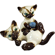 Vintage Siamese Kitten Figurines - Two Playful Kittens with Rhinestone Eyes