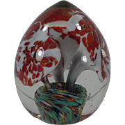Vintage Glass Paperweight - Old Egg Shaped Paper Weight with Floral Design