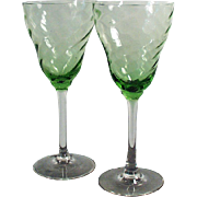 Vintage Stemware - Two Wine Glasses - Green Optic Swirl Bowls with Clear Stems - Pair