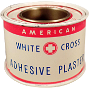 Vintage White Cross Adhesive Plaster Tin - Old Medical Advertising