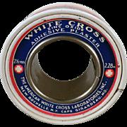 Vintage Medical Tin - White Cross Zinc Oxide Adhesive Plaster Tin - Old Medicine Advertising