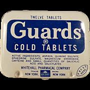 Vintage Medicine Tin - Guards Cold Aspirin Tablets - Old Medical Advertising