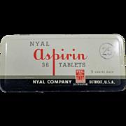Vintage Medicine Tin - Nyal 36 Aspirin Tin - Old Medical Advertising