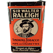 Vintage Tobacco Tin -  Old Sir Walter Raleigh Vertical Pocket Tin