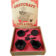 Vintage Miniature Kitchenware - Old GreyCraft Pots and Pans Set with Original Box