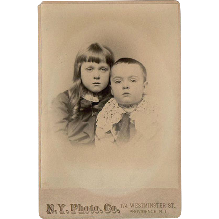 Vintage Cabinet Card - Old Photograph of a Young Boy and Girl - Adopt a Family