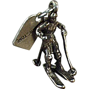 Vintage Sterling Silver Charm - Skier - Souvenir from Yellowstone