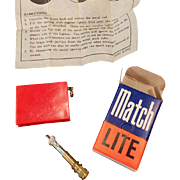 Vintage Match Lite #1122 Red - Old Cigarette Lighter with Original Box and Instructions