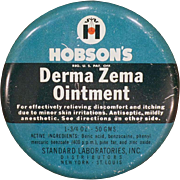 Vintage Medicine Tin – Hobson's Derma Zema Ointment – Old Medical Advertising